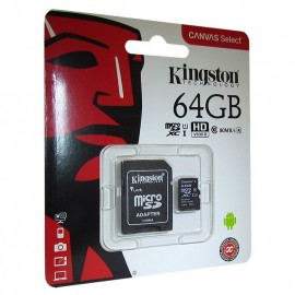 Micro SD 64GB Kingston Class 10 Canvas Select Plus A1 (100 Mb/s) + SD адаптер